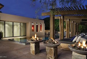 Modern Patio with Red ember coronado propane fire bowl