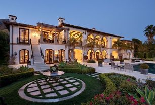 Mediterranean Landscape/Yard with Inground pool, Outdoor dining, Outdoor pool, Exterior stone archway, Box hedge, Chimney