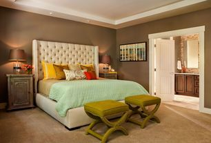 Contemporary Master Bedroom with Ballard Designs X Bench with Nailheads, Trey ceiling, Carpet