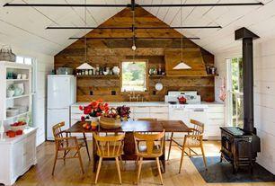 Country Kitchen with Flat panel cabinets, Custom hood, Chantal Tea Kettles Classic in Enamel-on-Steel -1.8 Quart, U-shaped