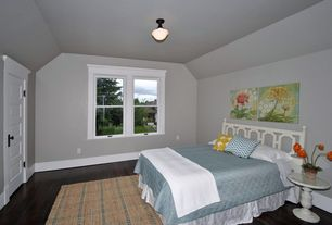 Contemporary Guest Bedroom with flush light, Felix accent table, distressed white, Transitional wide bronze ceiling light