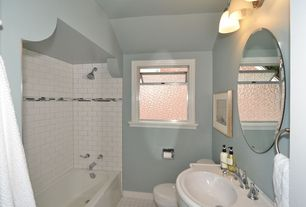 Traditional Full Bathroom with US Ceramic Tile Bright Snow White Brick 12 in. x 12 in. Ceramic Mosaic Tile, Subway Tile