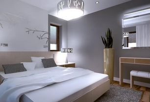Modern Master Bedroom with High ceiling, Pendant light, Hardwood floors