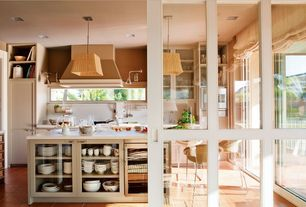 Country Kitchen with French doors, Breakfast bar, Smith & noble relaxed roman fabric shades, Built-in bookshelf, Glass panel