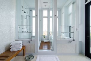"Contemporary Master Bathroom with Teak floor, Msi calacatta gold 1"" x 1"" polished marble mesh mounted mosaic tile in white"