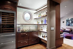 Modern Bar with Crown molding, Hardwood floors