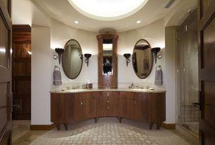 Mediterranean Master Bathroom with Inset cabinets, frameless showerdoor, European Cabinets, partial backsplash, Wall sconce