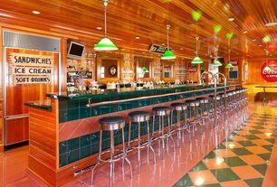 Eclectic Bar with Rose and green floor tile, Wood paneled ceiling, Manhattan Project Carmine Pendant Lamp