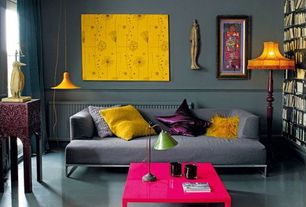 Contemporary Living Room with Rizzy Home Shag Decorative Pillow, Lucienne Day Dandelion Clocks, Mono Cadet Sofa By Blu Dot