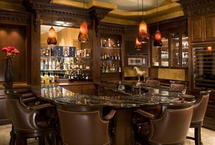 Traditional Bar with can lights, High ceiling, Concrete tile , Built-in bookshelf, Pendant light