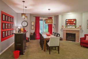 Contemporary Bar with stone fireplace, Carpet, Pendant light