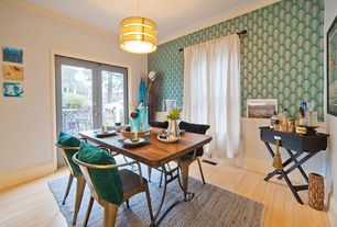 Contemporary Dining Room with interior wallpaper, Crown molding, French doors, Pendant light, Hardwood floors