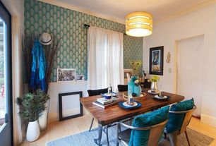 Transitional Dining Room with Libra Vase, Teal Blue Ombre Velvet Throw Pillow, Laminate floors, specialty door, High ceiling