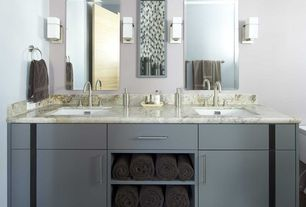 Contemporary 3/4 Bathroom with Wall sconce, European Cabinets, Simple Marble, Undermount sink, Carpet, Double sink, Flush