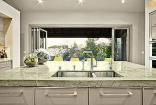 Contemporary Kitchen with Kitchen island, Flush, U-shaped, Simple granite counters, European Cabinets, Undermount sink
