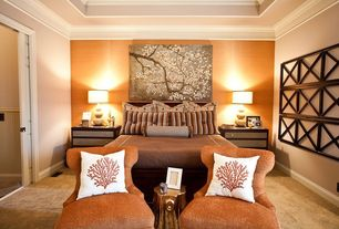 Contemporary Master Bedroom with Coral Pillow Cover, interior wallpaper, Carpet, Crown molding, specialty door, High ceiling