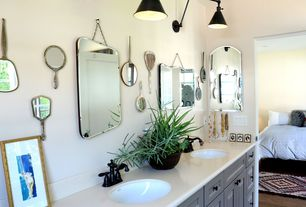 Contemporary Master Bathroom with Hardwood floors, Corian Luna White Solid Surface Countertops, Flush, Wall sconce