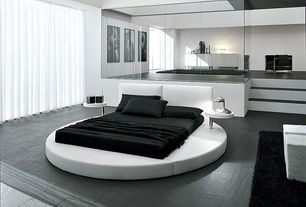 Contemporary Master Bedroom with stone tile floors, simple granite tile floors, Standard height