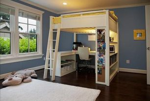 Traditional Kids Bedroom with Standard height, flush light, specialty window, can lights, Crown molding, Concrete floors