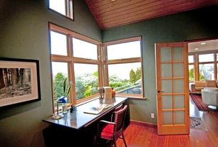 Contemporary Home Office with French doors, Casement, High ceiling, Laminate floors, picture window