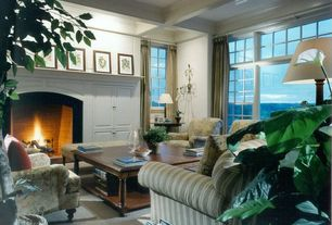 Traditional Living Room with Box ceiling, Built-in bookshelf, Carpet