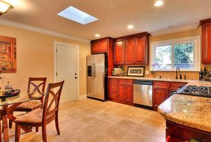 Kitchen with L-shaped, Casement, KraftMaid Cabinetry Cherry Square Raised Panel In Burnished Cabernet, Framed Partial Panel