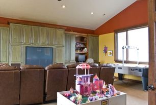 Traditional Playroom with Casement, Paint 1, Carpet, High ceiling, Paint 2, Brio Play Table, Ceiling fan, can lights