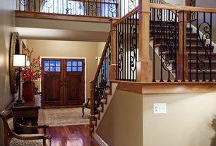 Craftsman Entryway with Hardwood floors, Glass panel door, Loft, Iron-Balusters.com Iron Balusters #57