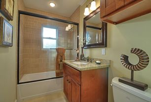 Traditional Full Bathroom with Full Bath, Standard height, Af lighting sonoma 2 light bath vanity light, Flat panel cabinets