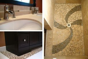 Modern Master Bathroom with Inset cabinets, Double sink, SomerTile 11.25x12-inch Posh Bubble Brown Porcelain Mosaic Tiles