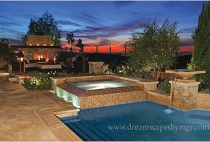Modern Swimming Pool with Fence, Outdoor kitchen, exterior stone floors, Pool with hot tub