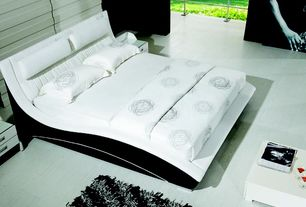 Contemporary Master Bedroom with Black and white, Matisse Napoli Modern Platform Bed, High pile shag rug
