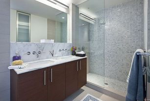Contemporary Full Bathroom with Stone center online carrara white 1x1 square mosaic tile tumbled, Concrete tile , Double sink