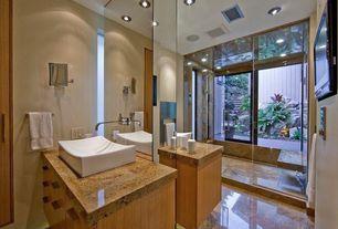 Contemporary Master Bathroom with frameless showerdoor, Vessel sink, Shower, three quarter bath, can lights, Flush