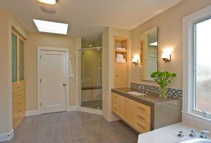 Contemporary Master Bathroom with Shower, European Cabinets, can lights, frameless showerdoor, Standard height, Ceramic Tile