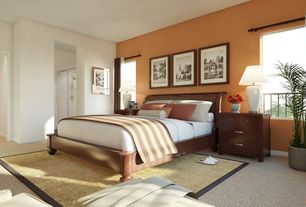 Modern Master Bedroom with double-hung window, Standard height, Carpet