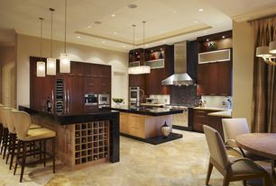 Contemporary Kitchen with Flush, can lights, European Cabinets, Daltile 12x12 travertine alta vista sunset gold av51