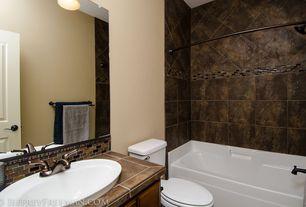 Rustic Full Bathroom with Over mount sink, Glass tile backsplash, Slate Tile, Apron front bathtub, Ba1201, High ceiling