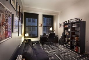 Contemporary Home Office with Flor - carpet tile, High ceiling, double-hung window, Built-in bookshelf, Carpet