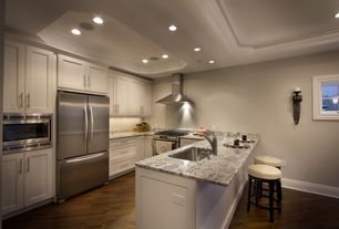 Contemporary Kitchen with Framed Partial Panel, can lights, Flat panel cabinets, Paint 1, Undermount sink, Gaillard sconces