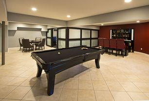 Contemporary Game Room with Aramith Super Pro Value Ball Pak, Columns, travertine floors