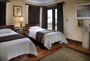 Modern Guest Bedroom with French doors, Laminate floors, Standard height, Balcony
