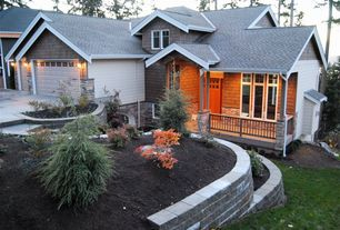 Craftsman Landscape/Yard with exterior stone floors, Glass panel door, Raised beds
