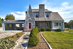 Eclectic Exterior of Home with exterior stone floors, 1 gal. Wintergreen Boxwood