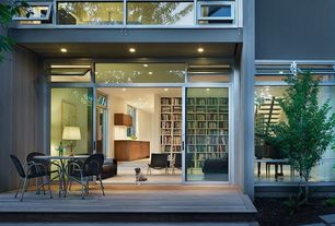 Contemporary Deck with French doors, Transom window, Pathway