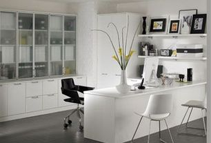 Contemporary Home Office with Wholesale Interiors Baxton Studio Boujan White Plastic Modern Dining Chair DC-2-white