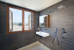 Contemporary Full Bathroom with GSI Collection Traccia Modern Curved Wall Hung Bathroom Sink with Overflow, Concrete