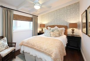 Traditional Guest Bedroom with Hardwood floors, Ceiling fan, Fabric curtain, Roman shades, Casement, interior wallpaper