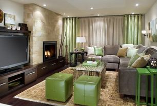 Contemporary Living Room with Palecek Driftwood Stick Coffee Table Base, Hardwood floors, Wall sconce, Laney sectionals