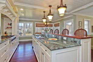 Traditional Kitchen with One-wall, Glass panel door, Complex granite counters, Chandelier, Granite costa esmeralda
